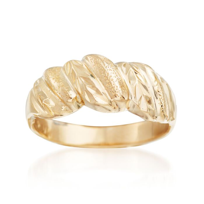 C. 1990 Vintage 14kt Yellow Gold Ribbed Ring. Size 5.5, , default