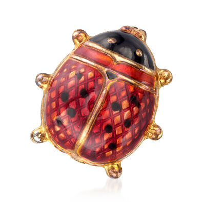 C. 1970 Vintage Red Enamel Ladybug Pin in 18kt Yellow Gold, , default
