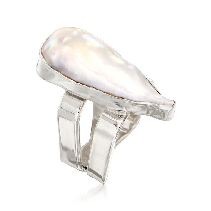 12x24mm Bezel-Set Cultured Baroque Pearl Ring in Sterling