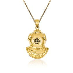 "14kt Yellow Gold Divers Helmet Pendant Necklace. 18"", , default"