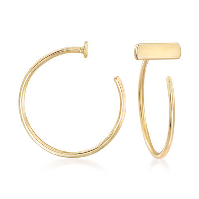 14kt Yellow Gold Bar C-Hoop Earrings
