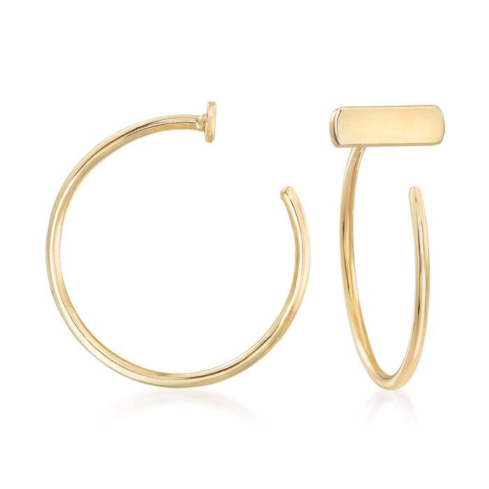 "14kt Yellow Gold Bar C-Hoop Earrings. 1/2"", , default"