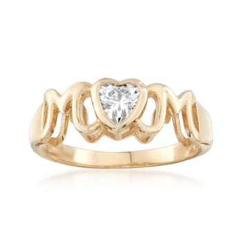 """.40 Carat Heart-Shaped CZ """"Mom"""" Ring in 14kt Yellow Gold, , default"""