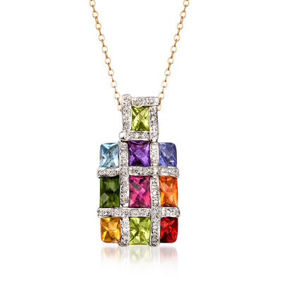 C. 1990 Vintage 4.65 ct. t.w. Multi-Gemstone and .45 ct. t.w. Diamond Checkerboard Pendant Necklace in 18kt Two-Tone Gold