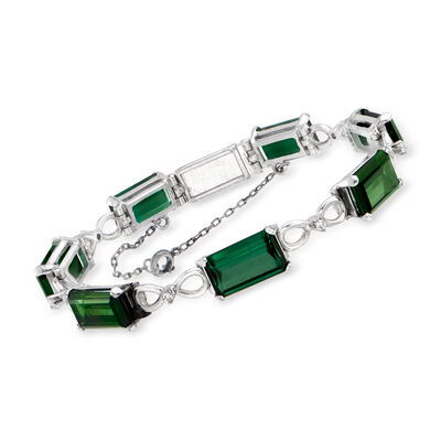 C. 1950 Vintage 19.25 ct. t.w. Green Tourmaline and .18 ct. t.w. Diamond Bracelet in 12kt White Gold