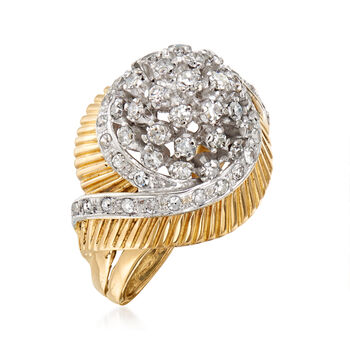 C. 1970 Vintage 1.45 ct. t.w. Diamond Dome Ring in 18kt Yellow Gold. Size 7.25