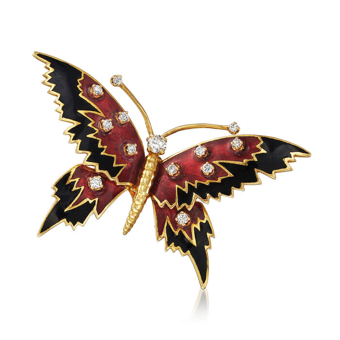 C. 1960 Vintage Enamel Butterfly Pin with .60 ct. t.w. Diamonds in 18kt Yellow Gold, , default