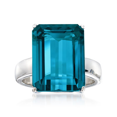 12.00 Carat London Blue Topaz Ring in Sterling Silver
