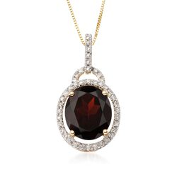 "5.00 Carat Oval Garnet and Diamond Pendant With 14kt Yellow Gold Necklace. 18"", , default"