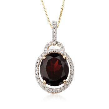 """5.00 Carat Oval Garnet and Diamond Pendant With 14kt Yellow Gold Necklace. 18"""", , default"""