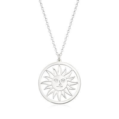 Sterling Silver Sun Pendant Necklace, , default