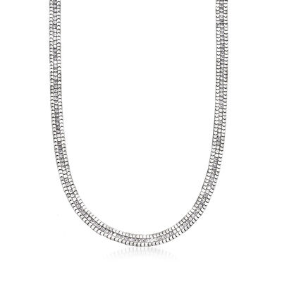 Italian 4.95 ct. t.w. CZ Box Chain Necklace in Sterling Silver, , default