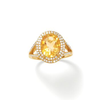 2.60 Carat Citrine and .33 ct. t.w. Diamond Ring in 14kt Yellow Gold, , default