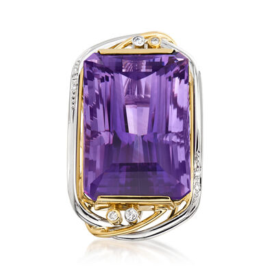 C. 1970 Vintage 63.41 Carat Amethyst and .13 ct. t.w. Diamond Cocktail Ring in Platinum and 18kt Yellow Gold