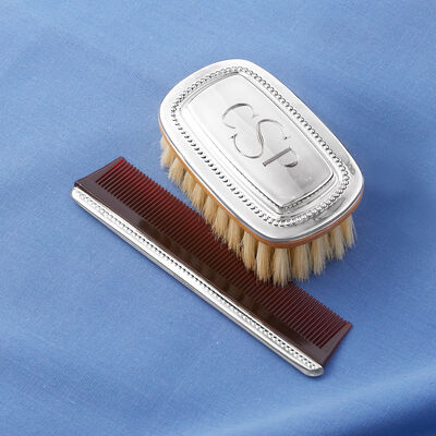 Gorham Boy's Beaded Sterling Silver Personalized Brush and Comb Set