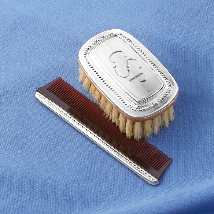 Gorham Boy's Beaded Sterling Silver Personalized Brush and Comb Set, , default