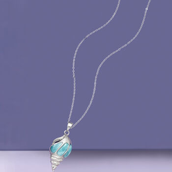 Larimar Seashell Pendant Necklace in Sterling Silver. 18""