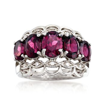 4.10 ct. t.w. Rhodolite Garnet Ring in Sterling Silver With White Topaz Accents, , default