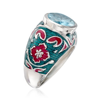 4.50 Carat Sky Blue Topaz and Multicolored Enamel Ring in Sterling Silver, , default