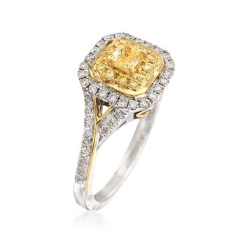 Gregg Ruth .68 ct. t.w. Yellow and White Diamond Ring in 18kt Two-Tone Gold. Size 7, , default