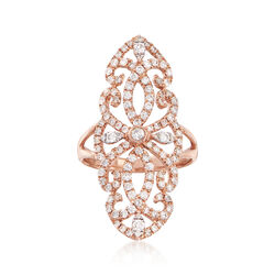 1.21 ct. t.w. Diamond Elongated Ring in 18kt Rose Gold, , default