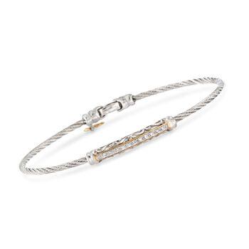 """ALOR """"Classique"""" .10 ct. t.w. Diamond Gray Cable Bracelet With 18kt Gold. 7"""", , default"""