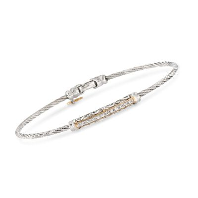 """ALOR """"Classique"""" .10 ct. t.w. Diamond Gray Cable Bracelet With 18kt Gold, , default"""