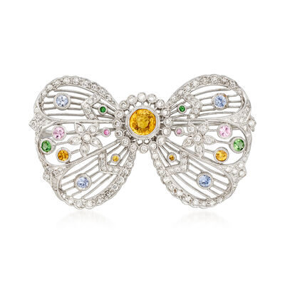 C. 1980 Vintage 2.34 ct. t.w. Multi-Gemstone and 1.40 ct. t.w. Diamond Bow Pin in 18kt White Gold, , default