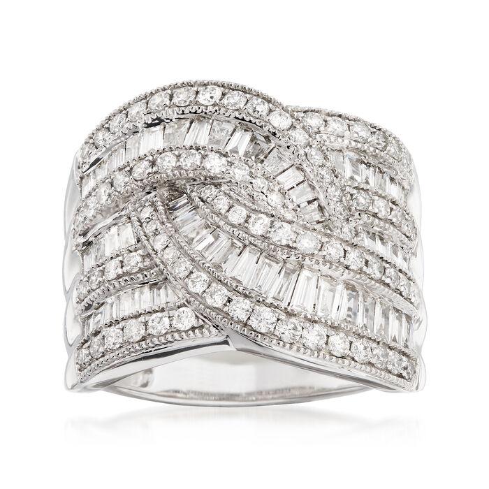 C. 1990 Vintage 2.30 ct. t.w. Diamond Swirl Ring in 14kt White Gold. Size 7, , default