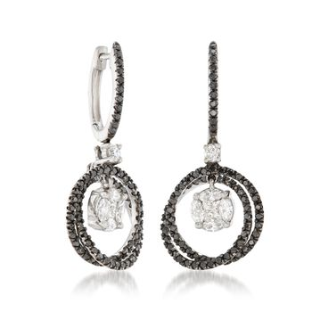 1.40 ct. t.w. Black and White Diamond Cluster Circle Drop Earrings in 14kt White Gold , , default