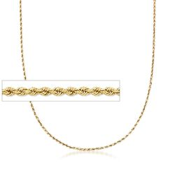 2mm 18kt Gold Over Sterling Silver Rope Chain Necklace, , default