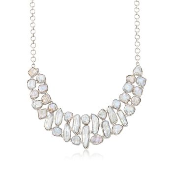 "6.5-26mm Cultured Biwa Pearl Collar Necklace in Sterling Silver. 18"", , default"