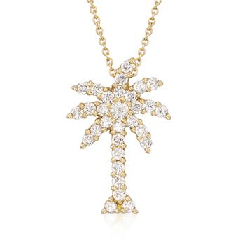 """Roberto Coin """"Tiny Treasures"""" .54 ct. t.w. Diamond Palm Tree Pendant Necklace in 18kt Yellow Gold. 18"""", , default"""