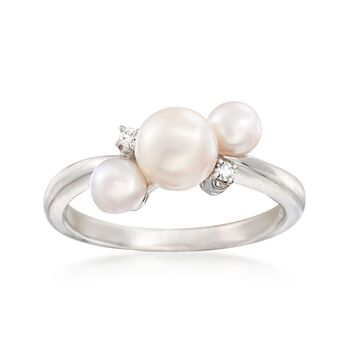 """Mikimoto """"Bubbles"""" 4-6mm A+ Akoya Pearl Ring With Diamond Accents in 18kt White Gold, , default"""