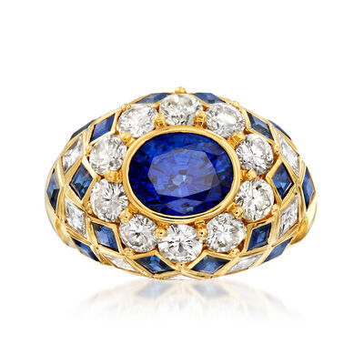 C. 1980 Vintage 4.15 ct. t.w. Sapphire and 2.10 ct. t.w. Diamond Ring in 18kt Yellow Gold