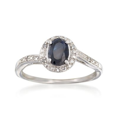 1.00 Carat Sapphire Ring with Diamond Accents in Sterling Silver, , default
