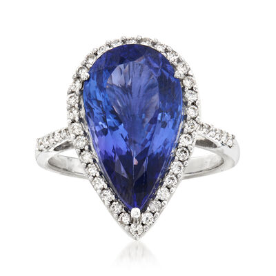 6.25 Carat Pear-Shaped Tanzanite and .40 ct. t.w. Diamond Ring in 14kt White Gold
