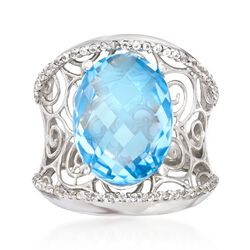 11.40 ct. t.w. White and Blue Topaz Scrollwork Ring in Sterling Silver, , default