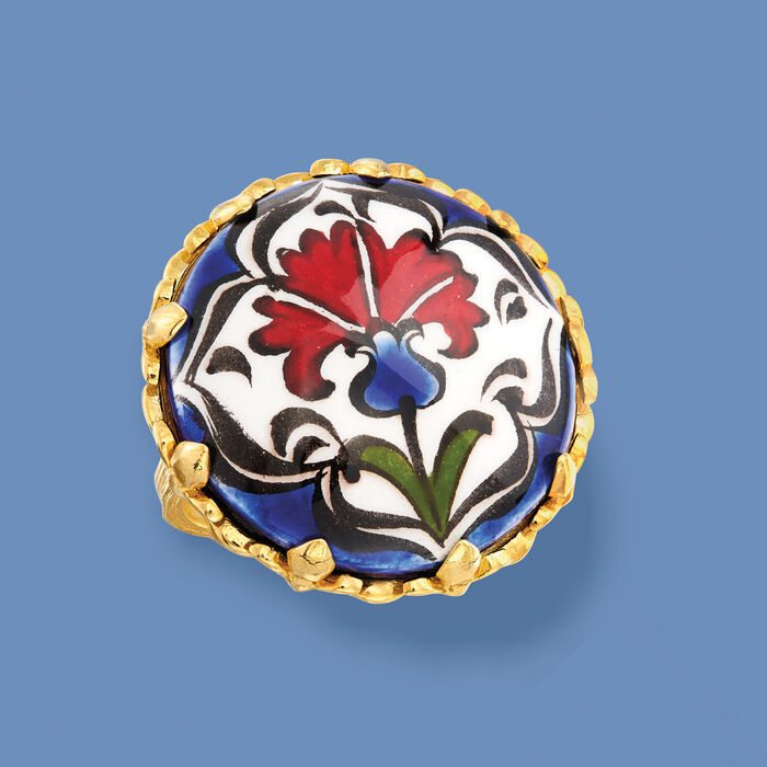 Hand-Painted Ceramic Floral Ring in 18kt Gold Over Sterling
