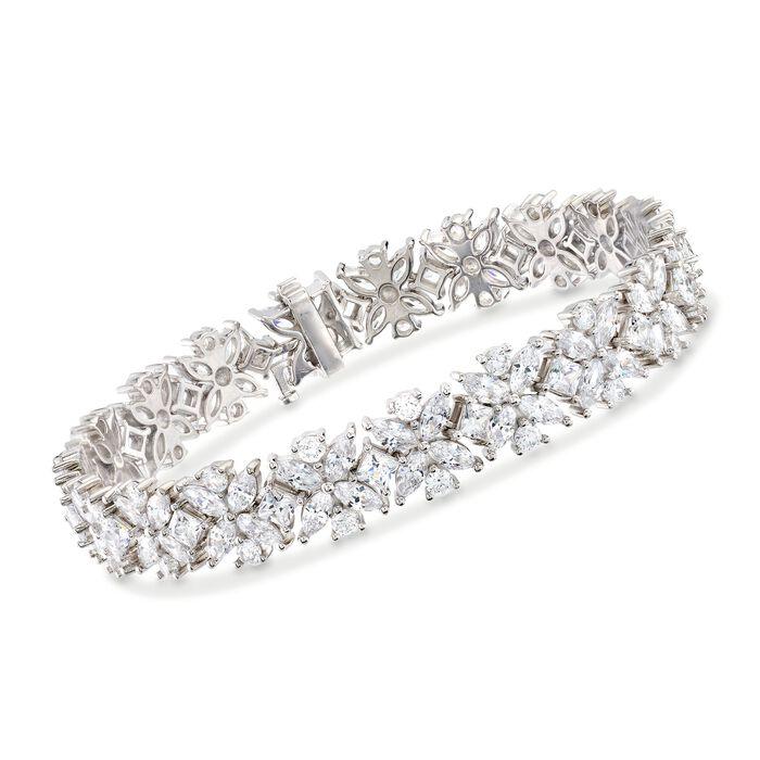 15.50 ct. t.w. Multi-Cut CZ Floral Bracelet in Sterling Silver, , default