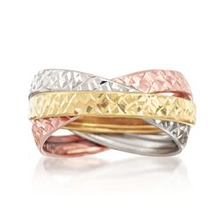 Italian 14kt Tri-Colored Gold Interlocking Ring, , default