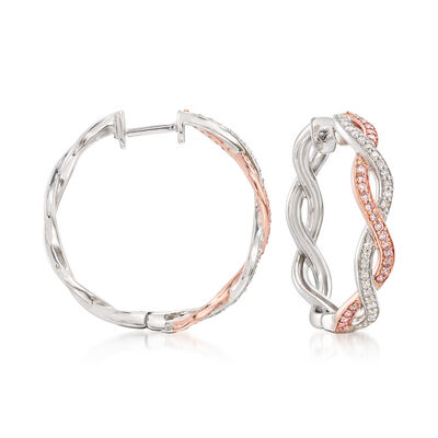 .50 ct. t.w. Two-Tone Pink and White Diamond Twisted Hoop Earrings, , default