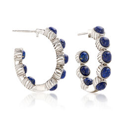 "Lapis J-Hoop Earrings in Sterling Silver. 1 1/8"", , default"