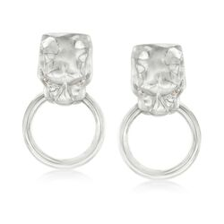 Italian Sterling Silver Panther Head Doorknocker Earrings With CZ Accents, , default