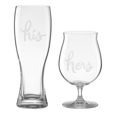 "Kate Spade New York ""Two of a Kind"" Set of 2 ""His"" and ""Hers"" Beer Glasses"