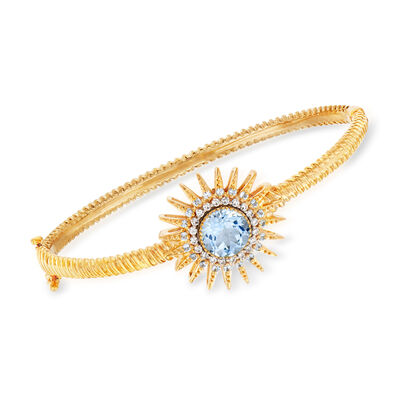3.70 ct. t.w. Blue Topaz and .26 ct. t.w. Diamond Sun Bracelet in 18kt Gold Over Sterling, , default