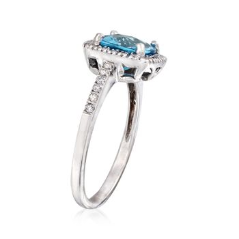 C. 2000 Vintage 1.75 Carat Blue Topaz and .25 ct. t.w. Diamond Ring in 14kt White Gold. Size 5.25