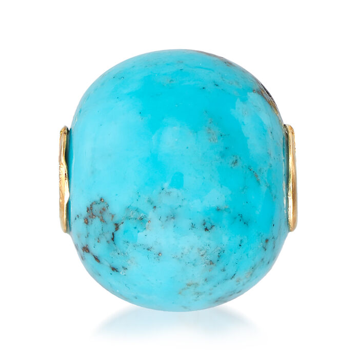 Stabilized Turquoise Bead Pendant in 14kt Yellow Gold, , default