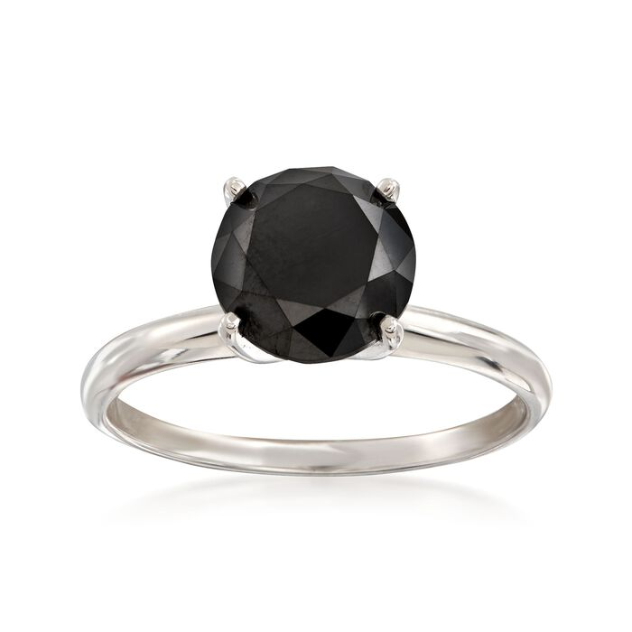 3.00 Carat Black Diamond Solitaire Ring in 14kt White Gold, , default
