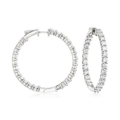 10.00 ct. t.w. Diamond Inside-Outside Hoop Earrings in 14kt White Gold, , default